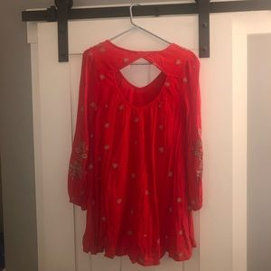Free People Red Sweet Tennessee Embroidered Dress